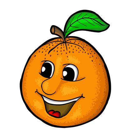 Orange with smile, vector illustration