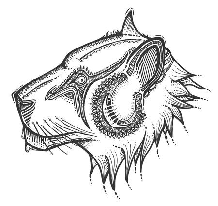 lijntekening: Hand getrokken hoofd van de leeuw, vector illustratie, oude stijl Stock Illustratie