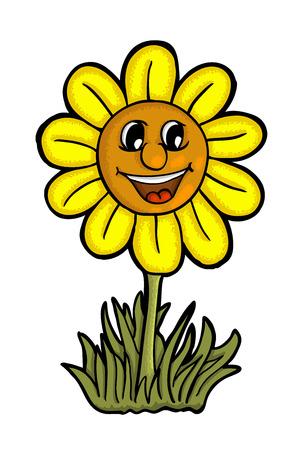 dessin fleur: Tournesol avec sourire, illustration vectorielle Illustration