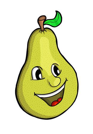 pera: Pera con la sonrisa, ilustración vectorial