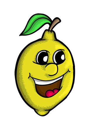 cartoon nose: Lemon with smile, vector illustration