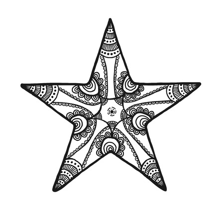 flower white: Vector of Star in zentangle style