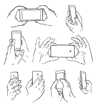 phone hand: Hand drawn hands with mobile phone. Vector illustration