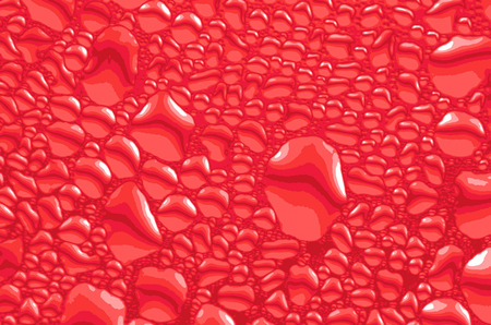 Water drops in red color, background texture, vector illustration