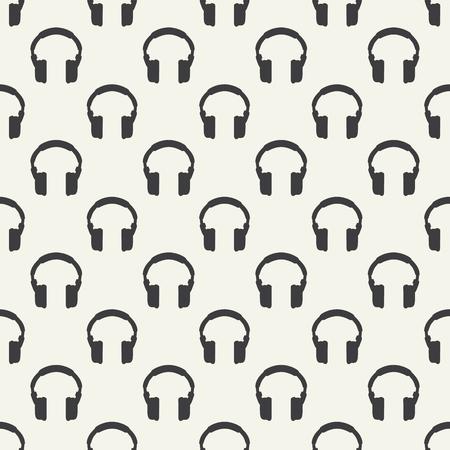 Headphones seamless pattern - simple music background Illustration