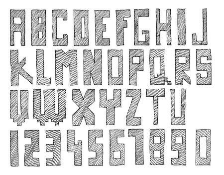 Hand drawn and sketched vector abc, font, alphabet Illustration