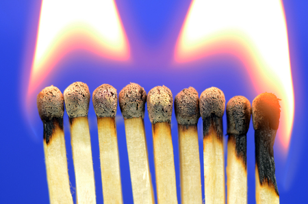 Burning, Matches On Deep Blue Background
