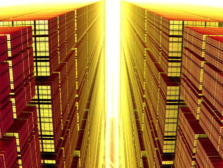 processors: Large glow rays of the sun shining like a flame. 3D fractal. Can symbolize technology and processors Stock Photo