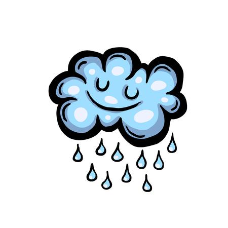 Painted cartoon rain cloud, vector illustration