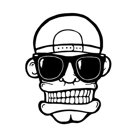Hip hop face, with sunglasses and cap. Cool man