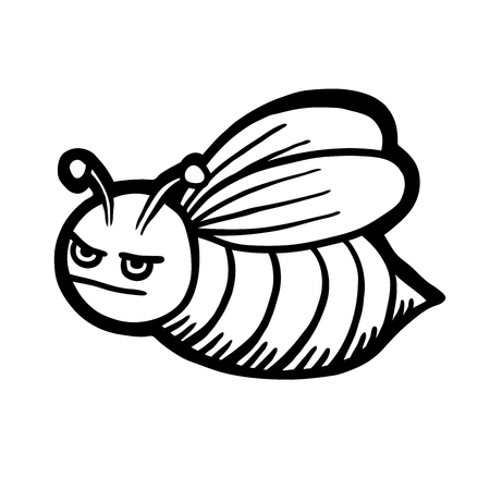 Painted bee, cartoon vector illustration