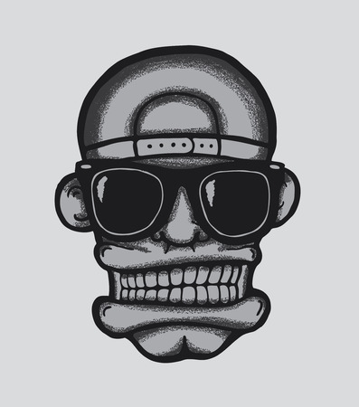Hip hop face, with sunglasses and cap. Cool man, vector illustration.