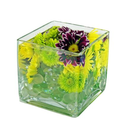Three different types of flowers under water to create a submerged floral arrangement in a square glass vase Banco de Imagens