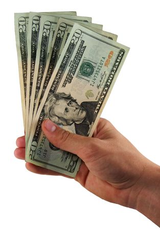 handing: A persons hand holds $100 in 20-dollar bills, fanned out