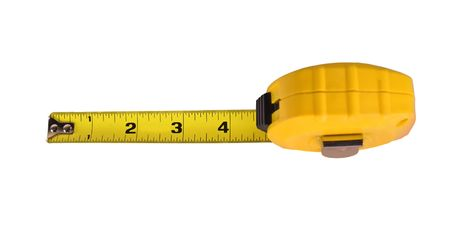 黄色テープ メジャー、オープン 4 インチ白で隔離