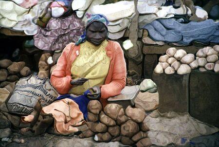 African Woman Potato-Seller Illustration