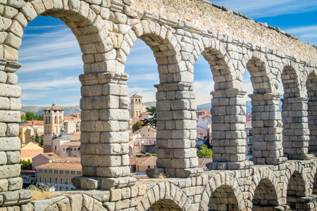 View on ancient aqueduct in Segovia, Spain