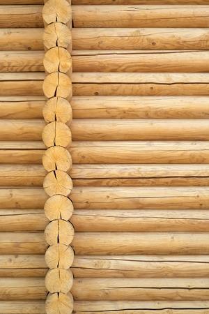Brown rustic wooden texture background. Facade of a log house, copy space. Wooden texture background Wall of blockhouse Reklamní fotografie