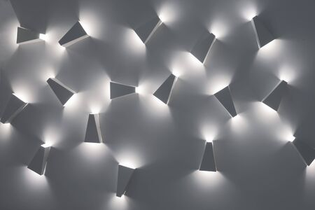 Cold light background. Design pattern. Web design background. Lights on ceiling. Light and shadow lesson. Pattern for photographers, designers. Art sample