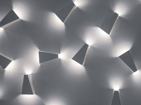 Modern lighting background. Cold light in interior. Modern design in lighting. Revolutionary decision in lightning concept. Modern indoor style.