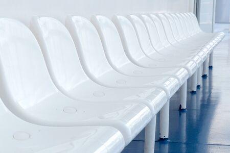 Hospitals prepare for coronavirus COVID-19. Empty white seats of public place. Quarantine concept. Tighten borders all over the world. nCov spreads globally. Healthcare and medicine. SARS-like disease