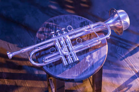 Contemporary Jazz. Wind Instrument. Brass Band. Relaxing Music. Live Music Online. Retro Music. Concert Solo Trumpet. Trumpet. Jazz Club. Trumpet with Cup Mutes on Stage. Jazz. Trumpet in Vintage Club