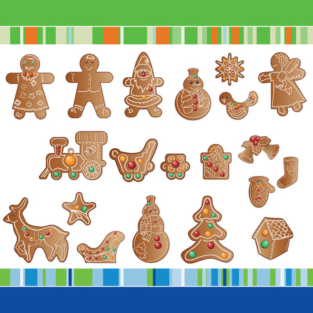 set of Christmas gingerbread cookies Stock Vector - 8213652