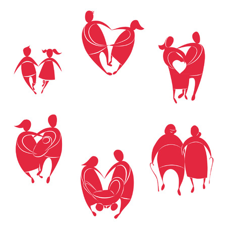 all ages love. Silhouettes of six pairs of lovers in the form of heart Vector