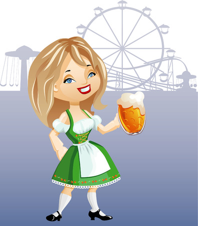 cute cartoon blonde girl with glass of beer, weared in traditional German dress dirndel. eps8 file. Background is placed in separate layer Vector