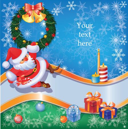 Christmas and New Year set  with a of Santa and decorations. eps10 Vector