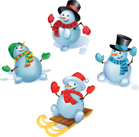 tophat: Group of snowmans is  standing in different poses.