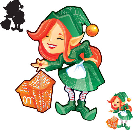 Elf girl with gingerbread castle. Put last decor detail . Also good looking in icon size. Silhouette available. eps10 file. Vector