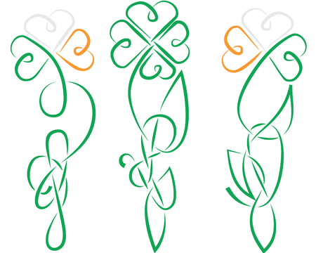 celtic shamrock: the shamrock have been made in ancient Ireland or Celtic knot style all details is separated, color easy to change, in eps8 format Illustration