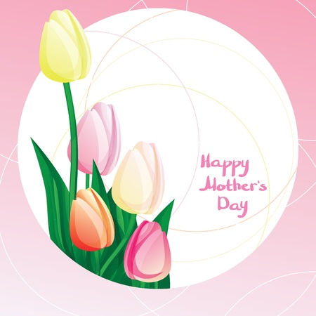 Peekaboo Mothers Day Peekaboo card with tulipe and calligraphy. Font not used