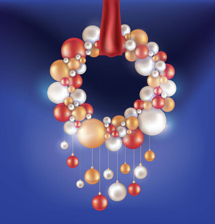 Christmas design composition with hanging ball, snowflakes. Rich ornated with  snowglakes and lighting.  Vector