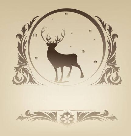 Ornate Christmas with silhouette standing raindeer