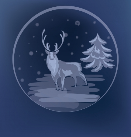 Christmas background with silhouette  standing raindeer sketch