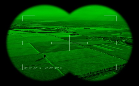 viewfinder: Empty view inside a military binocular. Night vision theme.