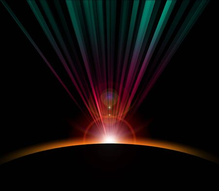 Earth radiating light. Stock Photo