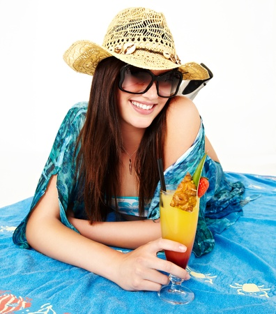 Young girls with a cocktail. Summer and beach. Stock Photo