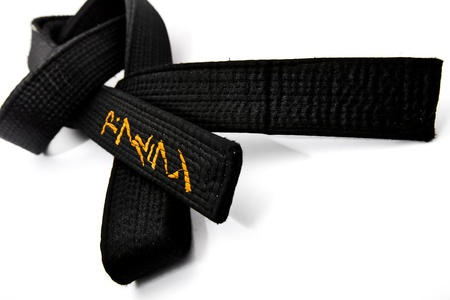 dojo: Black belt wiht japanese ideograms