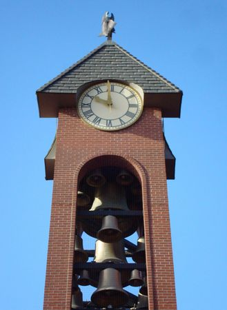 esther: A Clock Tower With Bells, Taken At Esther Short Park, In Vancouver, Washington.
