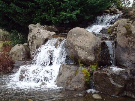 man waterfalls: These are man made waterfalls at a local park in Vancouver Washington.           Stock Photo