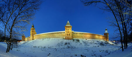 novgorod: Novgorod Kremlin by winter night, Veliky Novgorod Editorial
