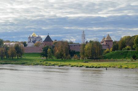novgorod: View of the Novgorod Kremlin from the bridge in autumn Editorial