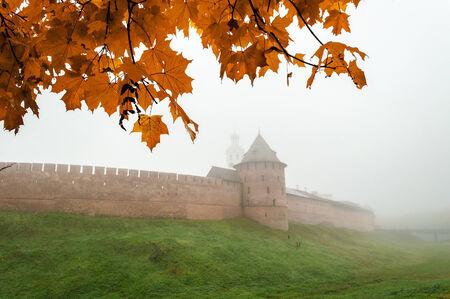 novgorod: Novgorod Kremlin in the fog, Veliky Novgorod
