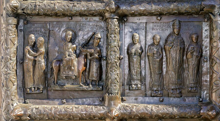 veliky: Detail of the bronze gates of St. Sophia Cathedral,Veliky Novgorod