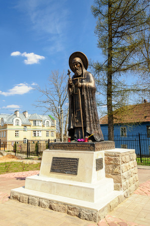 abbot: PSKOV, RUSSIA - MAY 5, 2013: Monument of abbot Cornelius on May 5, 2013
