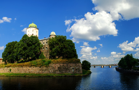 moat wall: Vyborg Castle with the Tower of St.Olaf