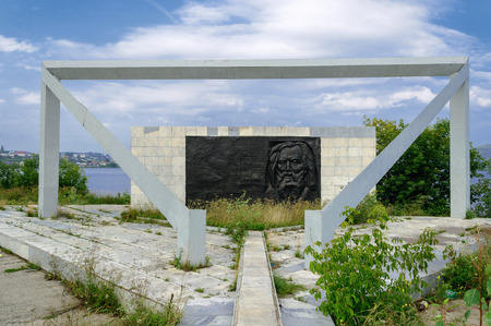 mendeleev: UPPER UFALEY, RUSSIA - AUGUST 11 - Monument to scientist Mendeleev D.I. in Upper Ufaley on August 11, 2013.